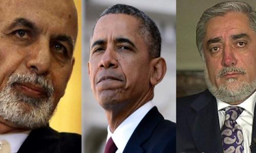 Obama, Ashraf Ghani & Abdullah Abdullah meet at White House on March 24