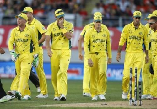 Members of the Australia team prepare to leave the field.