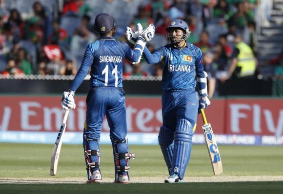 Centurions Dilshan, Sangakkara thrash Bangladesh in World Cup