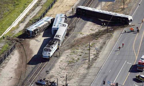 Fifty hurt when Southern California train slams into truck
