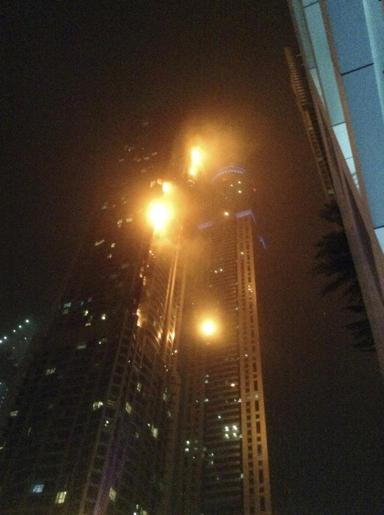 Hundreds evacuated as fire breaks out at Dubai skyscraper