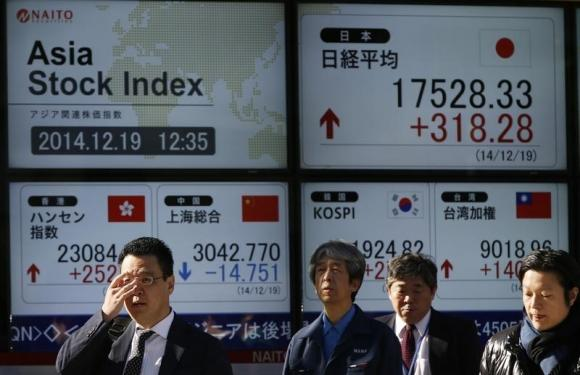 Japan shares hit 15-year peak; yields drop on Fed view