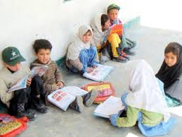 Students scared in school having no boundary wall