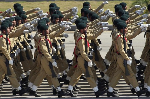 Pakistani soldiers march during the Pakistan Day parade in Islamabad March 23, 2015.