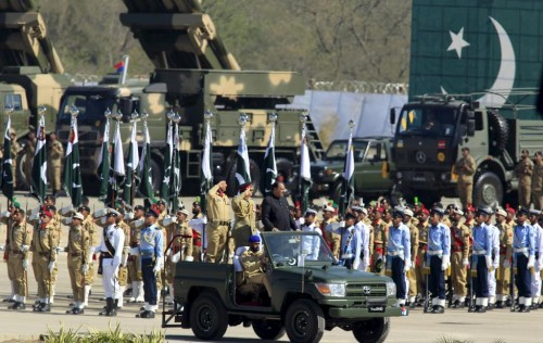 Pakistan's President Mamnoon Hussain inspects the troops during Pakistan Day parade in Islamabad March 23, 2015.