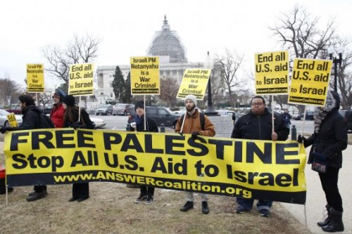 ANSWER Coalition activists demonstrate against Israel's Prime Minister Benjamin Netanyahu on Capitol Hill in Washington March 3, 2015.