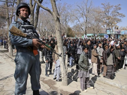 Ethnic Hazara demonstrators gather in a protest demanding action to rescue Hazaras kidnapped from a bus by masked men who many believe are influenced by Islamic State, in Ghazni March 17, 2015. REUTERS