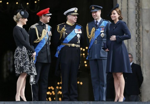 Britain's Sophie, Countess of Wessex, stands with Prince Edward, Prince Andrew, Prince William and Catherine, Duchess of Cambridge (L-R), after a flypast of military aircraft, following the Afghanistan service of commemoration at St Paul's Cathedral in London March 13, 2015. REUTERS