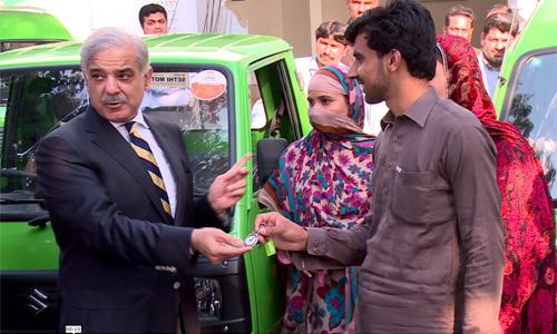 Chief Minister Shahbaz Sharif gives vehicles under Apna Rozgar Scheme