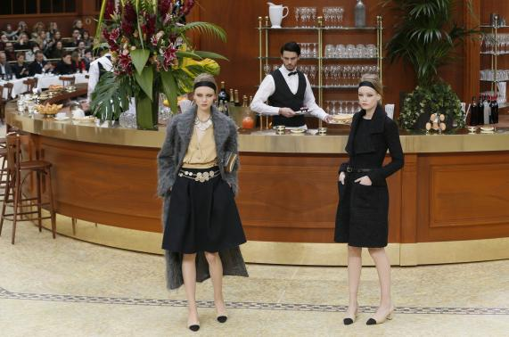 Beauties in a brasserie for Chanel's Paris fashion show