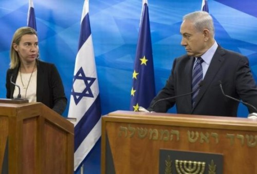European Union foreign policy chief Federica Mogherini (L) attends a media conference with Israeli Prime Minister Benjamin Netanyahu in Jerusalem November 7, 2014.