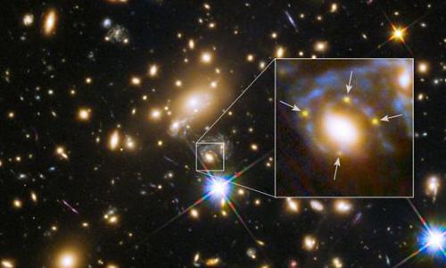 Hubble captures quadruple image of ancient exploding star