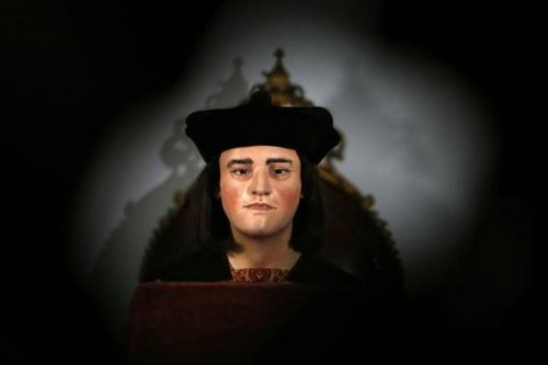 A facial reconstruction of King Richard III is displayed at a news conference in central London February 5, 2013.