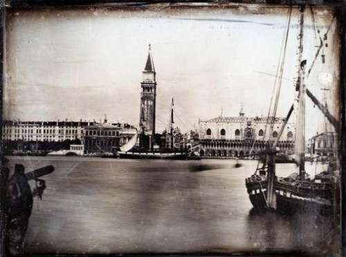 The Ducal Palace, the Zecca and the Campanile in Venice with moored ships in the foreground are seen in this handout photograph of a daguerreotype circa 1851, released in London March 18, 2015.
