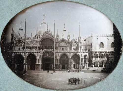Saint Mark's Basilica and the Piazza in Venice are seen in this handout photograph of a daguerreotype circa 1845, released in London March 18, 2015.