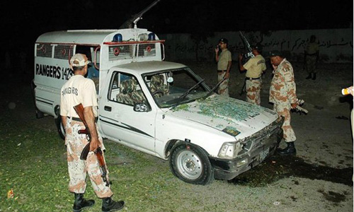 Two officials among three martyred in attack on Rangers vehicle in North Nazimabad