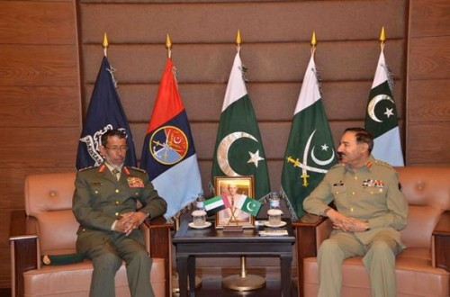United Arab Emirates Chief of Staff Lieutenant General Hamad Mohamed Thani Al Rumaithy calls on Joint Chiefs of Staff Committee (CJCSC) Chairman General Rashad Mahmood.