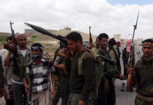 Southern People's Resistance militants loyal to Yemen's President Abd-Rabbu Mansour Hadi gather at the al-Anad air base in the country's southern province of Lahej, after seizing it March 22, 2015
