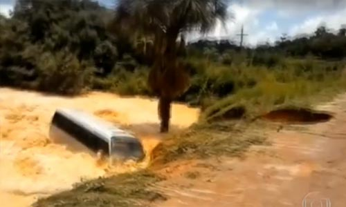 Passengers escape as bus washed away in Brazil