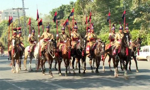 Full dress rehearsal for Azm-e-Pakistan Parade held in Lahore