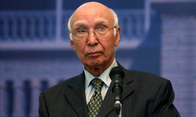 Pakistan for comprehensive dialogue with India: Sartaj Aziz