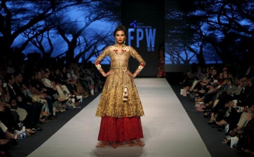 A model presents a creation by Pakistani designer Sanam Chaudri during the Fashion Pakistan Week (FPW) in Karachi April 1, 2015. Reuters
