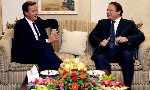 Prime Minister Nawaz Sharif meets David Cameron at 10 Downing Street