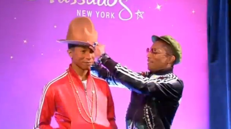 Singer Pharrell Williams meets his wax double in New York