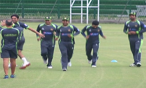 Players during a practice session at Gaddafi Stadium.