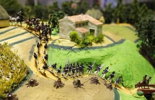 Figurines representing the Prussian army are seen on a 40-square-metre miniature model of the June 18, 1815 Waterloo battlefield, in Diest
