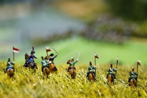 Figurines representing French Brigade of Lancers are seen on a 40-square-metre miniature model of the June 18, 1815 Waterloo battlefield, in Diest