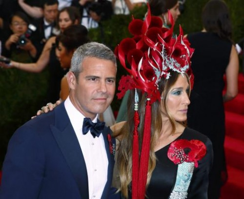 "Actress Sarah Jessica Parker and TV host Andy Cohen arrive at the Metropolitan Museum of Art Costume Institute Gala 2015 celebrating the opening of ""China: Through the Looking Glass"" in Manhattan, New York"