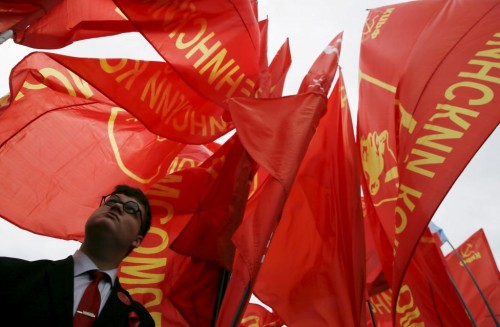 A supporter of Russia's Communist party attends a May Day rally in Moscow May 1, 2015. REUTERS