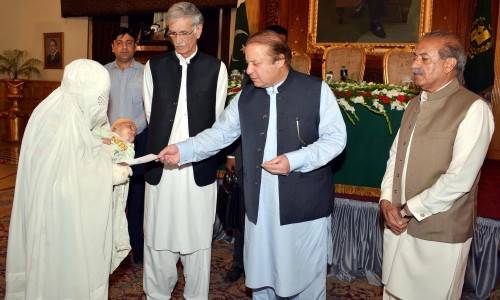 Prime Minister Muhammad Nawaz Sharif distributing the cheques am
