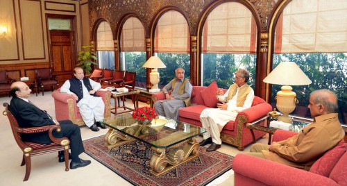 Prime Minister Nawaz Sharif meets chief ministers of four provinces before the NEC meeting.