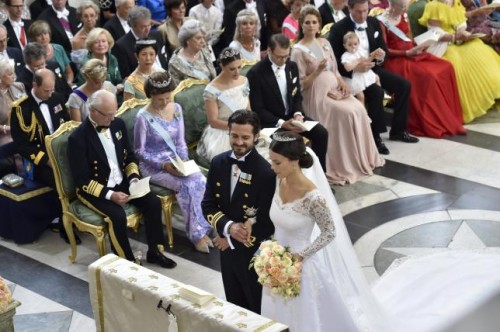 Swedish Prince Carl Philip and Sofia Hellqvist are pictured during their wedding in the Royal Chapel in Stockholm