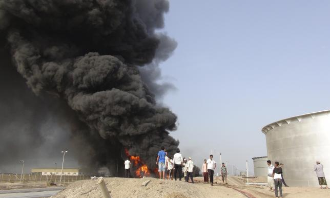 Yemen's Houthis attack Aden refinery, fire starts: witnesses