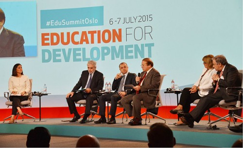 Prime Minister Nawaz Sharif speaks at Oslo Summit on Education for Development in Oslo, Norway.
