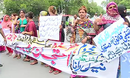Eunuchs rally for government jobs in Lahore; end protest after successful talks