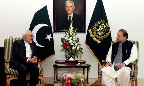 Prime Minister Nawaz Sharif meets Iranian Foreign Minister Javad Zarif