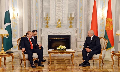 Prime Minister Muhammad Nawaz Sharif in a meeting with President of Belarus Alexander Lukashenka at Palace of Independence in Minsk.