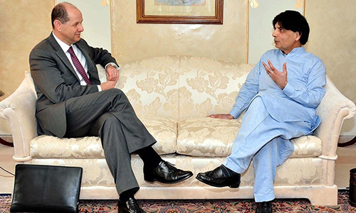 Altaf Hussain targeting Pak Army & institutions from Britain, Ch Nisar tells British HC Philip Barton