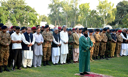 Funeral prayers for martyred armymen offered