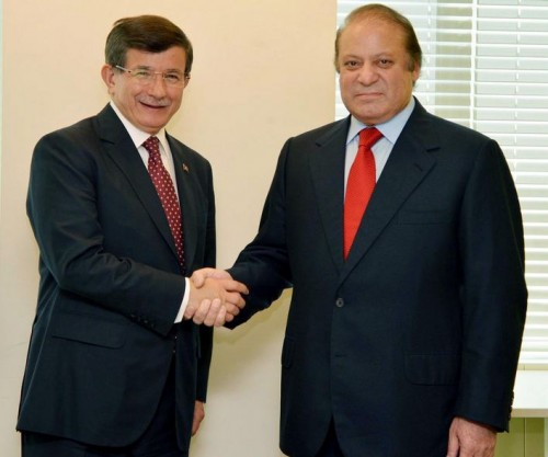 Prime Minister Nawaz Sharif shakes hand with Prime Minister of Turkey Ahmet Davutoglu prior to a delegation level meeting in New York.