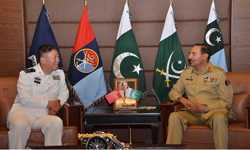 Chinese Rear Admiral Guan Youfei calls on CJCSC General Rashad Mahmood