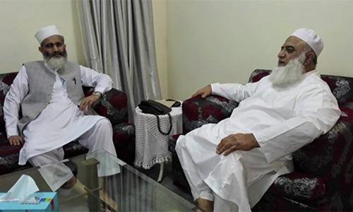 Jamaat-e-Islami ameer Sirajul Haq meets Maulana Fazlur Rahman