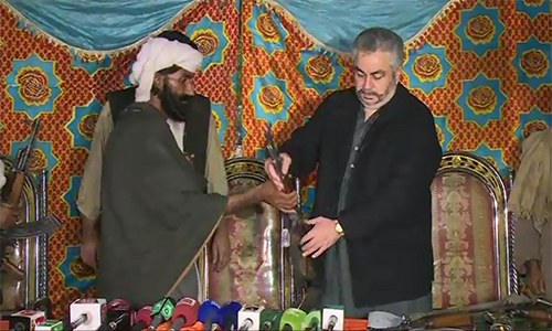 Four commanders among 32 Fararis surrender in Balochistan