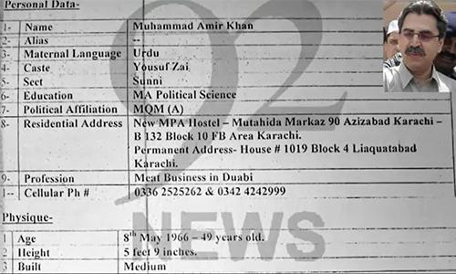 MQM leader Amir Khan was aware of terrorists' presence in Nine Zero: JIT report
