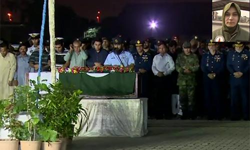 Martyred pilot Marium Mukhtiar's funeral offered in Karachi