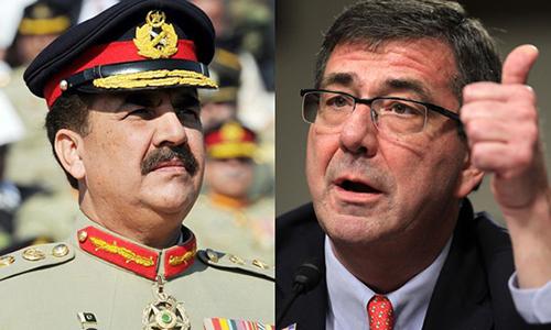 COAS General Raheel Sharif meets US Defense Secretary Ashton Carter in Pentagon